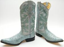 MENS CHIHUAHUA AQUA BLUE FAUX OSTRICH POINTY LEATHER COWBOY WESTERN BOOTS 7.5 EE