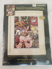 """New ListingThe Gold Collection by Dimension - Bear Button Trouble - 12""""x16"""" Needlepoint Kit"""