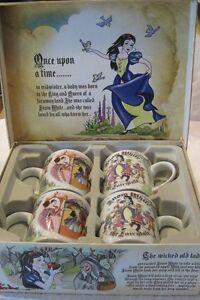 "Snow White mugs, cups ,set of 4, NIB, Cardew, signed, 12 oz., 3.75"" X 4.5"", 2012"
