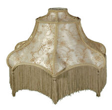 Victorian Fringed Lamp Shade Wild Rose Design Beige and Champagne