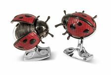 Deakin and Francis Moving Ladybird Cufflinks Ladybug Leather Wings Hand Painted