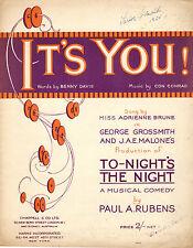 IT'S YOU! Music Sheet-1921-DAVIS/CONRAD-TONIGHT'S THE NIGHT-SIGNED GRIMALDI-UK
