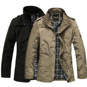 Fashion spring Mens Jacket Overcoat Coat Warm Casual Outwear Military Black New