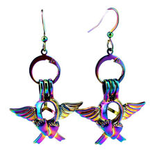 Rainbow Color Wing Foot Pearl Cage Earrings Hooks with 8mm Plastic Beads /Z697