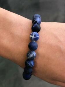 "Natural Blue Lapis 8mm Bead Spiritual Design Lobster Lock Bracelet 8"" Length"