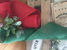 5m roll of 10cm Berry Red Hessian Ribbon. Christmas tree garland, bows, wreaths