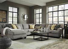 MAYFIELD Large Gray Microfiber Living Room Sofa Couch Chaise 5pcs Sectional Set