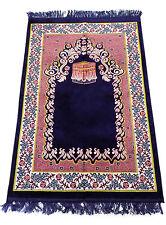 Prayer Rug Carpet Islamic Muslim Salah Meditation Mat Turkish Portable Blue