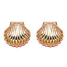 Gold scallop shell stud earrings