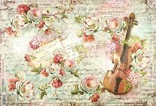 Carta di riso per Decoupage Decopatch Scrapbook Craft sheet ROSE E VIOLINO