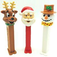 Vintage Christmas Pez Lot Of 3 Candy Dispensers Santa Snowman And Reindeer Pez