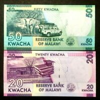 MALAWI 20 and 50 KWACHA Banknote World Paper Money UNC Currency Bill Notes