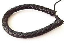 Black round plaited wristband adjustable size mens boys bracelet 8mm wide LB0233
