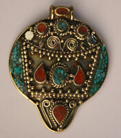 Asian Jewelry Ethnic Handmade Sterling Silver Pendant Turquoise Tribal PA5