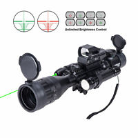 Rifle Scope 4-16x50 EG w/ Holographic 4 Reticle HD Sight&Green Laser Combo New!