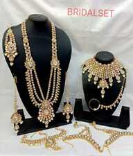Indian Traditional Bollywood Style Bridal Costume Kundan Necklace 9 Pc Combo Set