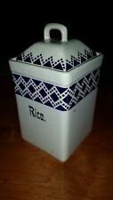 "antique rice 8"" canister pottery blue white german marga nice vintage jar lid"