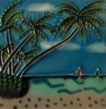 Palm Trees Sail Boat Sailboat Beach Decorative Ceramic Wall Art Tile 4x4