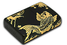 Zippo Gold Carp Ion Matte Black Plating 2-sides Etching Japan Limited Wagara