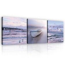 Leinwandbild Bilder Wandbilder Natur Kunst Strand Pier Landschaft Wohnzimmer 88