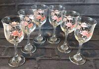 6 Vintage Tulip Wine Glasses Raised Foot Twist Stem Pink Flowers Cottage Core