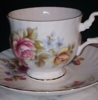Vintage Royal Dover Bone China Tea Cup & Saucer Roses W/Gold Trim