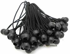 "(100) 9"" BLACK Ball BUNGEE Cord Tarp Bungee Tie Down Strap Bungi Canopy Straps"