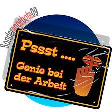 METALL SCHILD 19 x 12,5cm Sprüche Spruch Schilder Blech Pssst.... Genie bei der