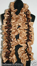NEW BROWN/BEIGE Sateen French Evening Stole/Scarf L125cm Ruched/Stretch Crinkled