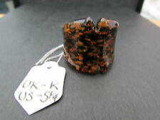 A BROWN & COPPER TENDENCE DICHROIC GLASS RING. UK SIZE K -- US 5.25  (67)