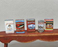 Vintage Antique Pantry Tins Oyster Salmon Corn Hash Dollhouse Miniature 1:12