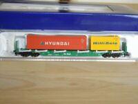 Fleischmann 825405 K Rungenwagen Rnos mit 2 Containern Hyundai + Willi Betz, N
