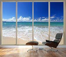 "Large Wall Mural - Tropical Beach Seen Through Sliding Glass Doors - 100""x144"""