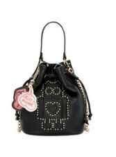 Betsey Johnson Studded Robot Mini Crossbody Bucket Shoulder Bag~BLACK~NWT