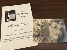 Blanche Yurka Autograph Photo & Theater Program I Remember Mama 1954 Ohio Play