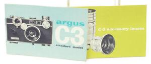 Original Argus C3 Color-Matic Rangefinder Camera Instruction Manual + Lenses