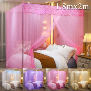 Princess 4 Corner Post Bed Mosquito Net Curtain Canopy Netting Queen King Size /