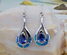 STERLING SILVER BLUE OPAL DANGLE EARRINGS WITH PEAR SHAPE TANZANITE