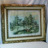 Vtg 1896 Idle Moments F. Howard Litho Ornate Frame print Farm Stream Family