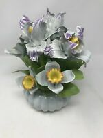 Vintage Floral Porcelain Handcrafted Vase with Flowers Made in Italy
