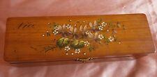 Boîte à gants Napoléon III / fin XIXème - Coffret bois peint de violettes - Nice