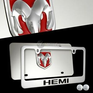 2pcs DODGE RAM HEMI 3D Mirror Stainless Steel License Plate Frame - FRONT & BACK