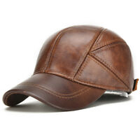 2018 Mens Genuine Leather Baseball Caps Winter Warm Hats with Ear Flaps Adjust