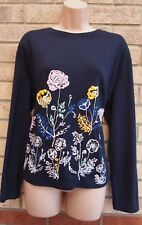 MARKS & SPENCER NAVY BLUE FLORAL PINK YELLOW LONG SLEEVE JUMPER TOP BLOUSE 18