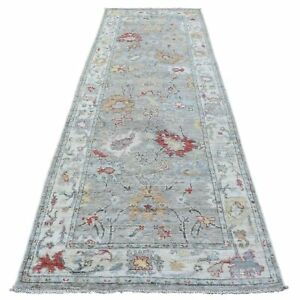 4'x12' Hand Knotted Gray Angora Oushak Soft Afghan Wool Runner Rug R68492