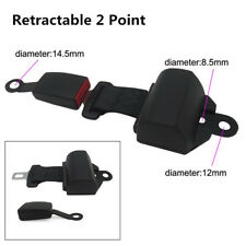Universal Retractable 2 Point Seat Belts Lap Auto Car Safety Seatbelt Buckle Kit