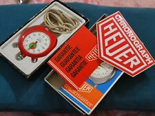 Nice Vintage 1960s HEUER Trackmaster Three Buttons Stop Watch w/Box & Papers