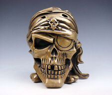 Vintage Fine Brass Crafted Pirate Human Skull Skeleton AWESOME HOME DECOR