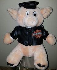 """Harley-Davidson Motorcycles Plush 11"""" Biker Hog Pig Faux Leather Jacket & Hat"""