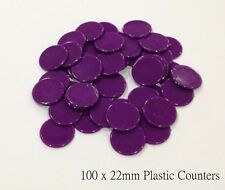 100 X 22mm BARGAIN Purple Plastic Board Games Counters Cheap Value Low